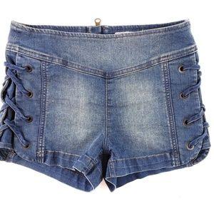 Free People Lace up Denim Zipper jean shor…